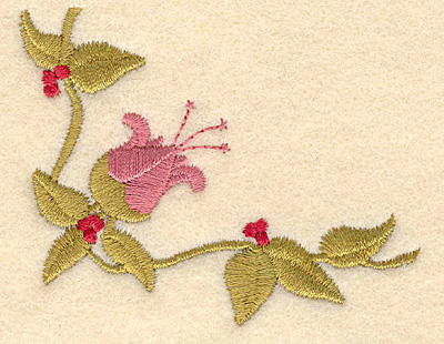 Embroidery Design: Corner flower with leaves3.01w X 2.37h