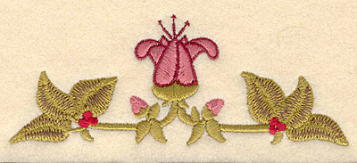 Embroidery Design: Center flower with leaves5.00w X 1.93h