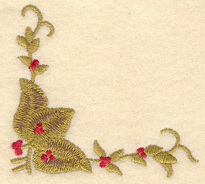 Embroidery Design: Corner holly with berries3.31w X 3.01h
