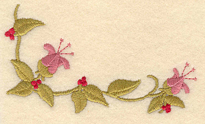 Embroidery Design: Two flowers with berries3.90w x 2.17h
