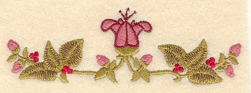 Embroidery Design: Flower buds and berries5.00w X 1.62h