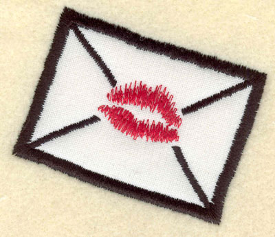 Embroidery Design: Applique envelope with lips3.30w X 2.89h
