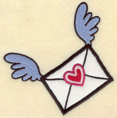 Embroidery Design: Applique envelope with wings and heart5.01w X 5.12h