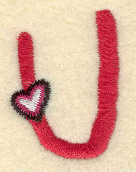 Embroidery Design: Uppercase U1.28w X 1.64h