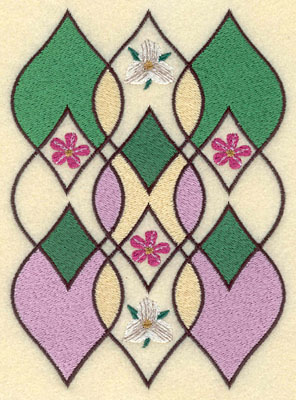Embroidery Design: Leaf Motif with Flowers6.07h X 4.40w