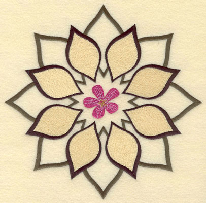 Embroidery Design: Floral Leaf Motif7.50w X 7.49h