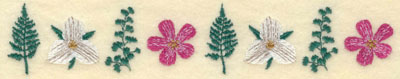 Embroidery Design: Fern and Floral Border7.72w X 1.44h