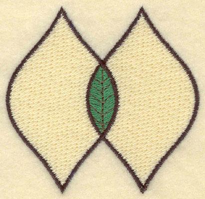 Embroidery Design: Double Leaf Motif Medium Filled2.88w X 2.76h