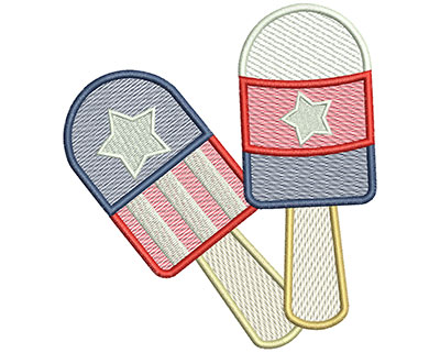 Embroidery Design: 4th of July Popsicles Mylar 5.03w X 5.56h