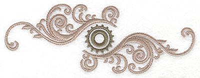Embroidery Design: Cog and swirls double small 6.90w X 2.59h