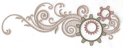 Embroidery Design: Cogs and swirl large 10.06w X 3.68h