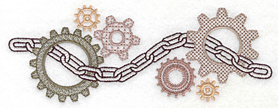 Embroidery Design: Chain and cogs small 6.95w X 2.55h