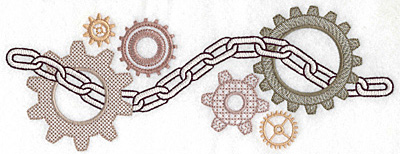 Embroidery Design: Chain and cogs large 10.07w X 3.69h