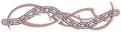 Embroidery Design: Chain link with tribal design large 10.05w X 2.47h