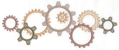 Embroidery Design: Gears large 10.03w X 4.18h