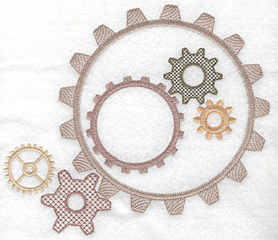 Embroidery Design: Gears in motion large 7.95w X 7.00h