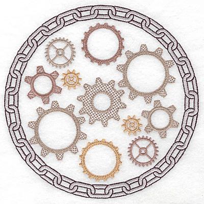 Embroidery Design: Cogs in chain 6.91w X 6.91h
