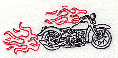 Embroidery Design: Motorcycle A with flames small 3.87w X 1.70h