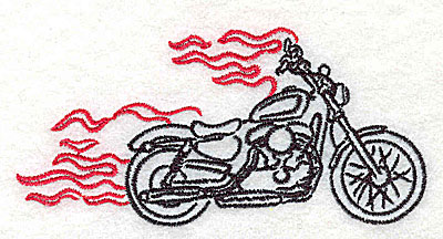 Embroidery Design: Motorcycle B with flames small 3.85w X 1.86h