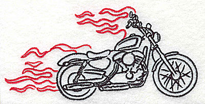 Embroidery Design: Motorcycle B with flames large 4.97w X 2.40h