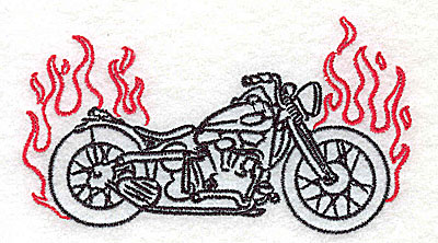 Embroidery Design: Motorcycle C with flames small 3.86w X 2.17h