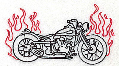 Embroidery Design: Motorcycle C with flames large 4.98w X 2.80h