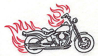 Embroidery Design: Motorcycle D with flames small 3.85w X 2.16h