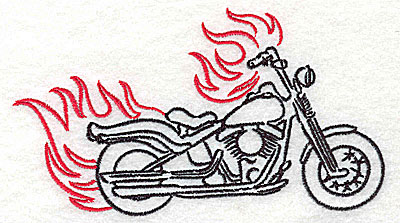 Embroidery Design: Motorcycle D with flames large 4.96w X 2.78h