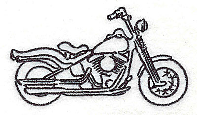 Embroidery Design: Motorcycle D 3.50w X 1.97h