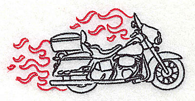 Embroidery Design: Motorcycle E with flames small 3.87w X 1.83h