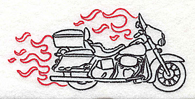Embroidery Design: Motorcycle E with flames large 4.96w X 2.34h