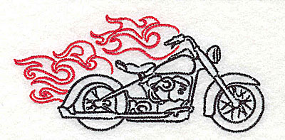 Embroidery Design: Motorcycle F with flames small 3.86w X 1.82h