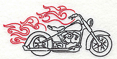 Embroidery Design: Motorcycle F with flames large 4.98w X 2.35h