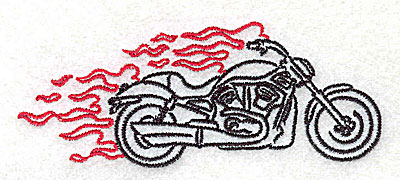Embroidery Design: Motorcycle G with flames small 3.86w X 1.52h
