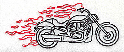 Embroidery Design: Motorcycle G with flames large 4.94w X 1.95h