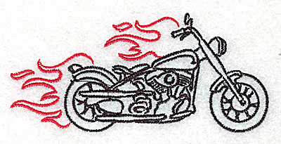 Embroidery Design: Motorcycle H with flames small 3.86w X 1.81h