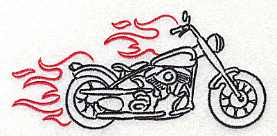 Embroidery Design: Motorcycle H with flames large 4.98w X 2.33h