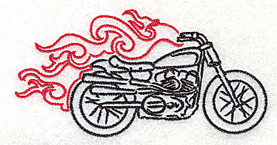 Embroidery Design: Motorcycle I with flames small 3.87w X 1.95h