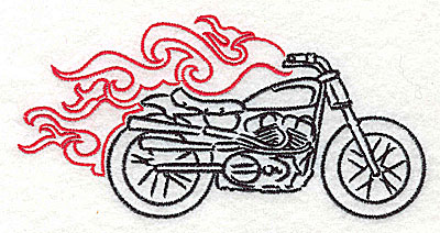 Embroidery Design: Motorcycle I with flames large 4.96w X 2.49h
