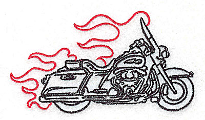 Embroidery Design: Motorcycle J with flames small 3.87w X 2.15h