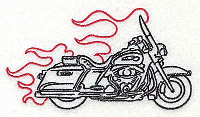 Embroidery Design: Motorcycle J with flames large 4.95w X 2.74h
