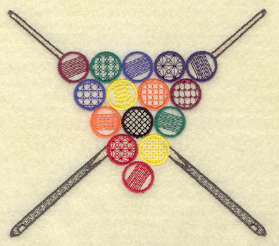 Embroidery Design: Cue sticks and racked balls 5.48w X 4.88h