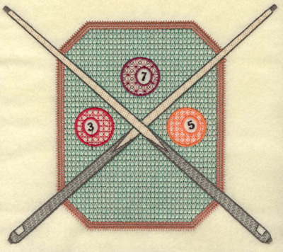 Embroidery Design: Pool table and cue sticks large 7.94w X