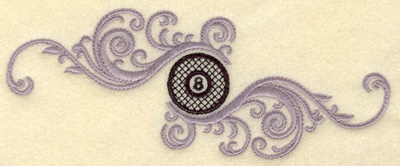 Embroidery Design: Eight ball with swirls horizontal small 6.90w X 2.61h