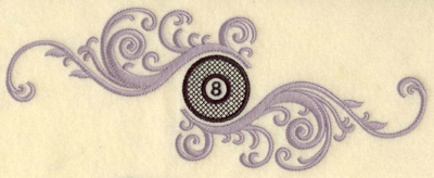 Embroidery Design: Eight ball with swirls horizontal large 9.99w X 3.78h