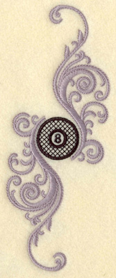 Embroidery Design: Eight ball with swirls verticle small 2.61w X 6.90h