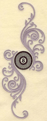 Embroidery Design: Eight ball with swirls verticle large 3.78w X 9.99h