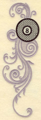 Embroidery Design: Swirls with eight ball large 3.14w X 10.12h