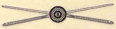 Embroidery Design: Crossed cue sticks with eight ball small 6.99w X 1.34h