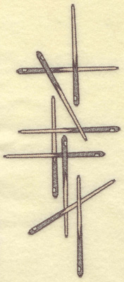 Embroidery Design: Cue sticks horizontal arrangement 4.14w X 9.57h